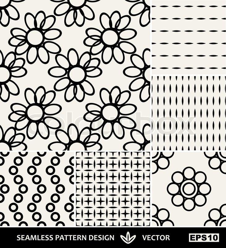 Abstract backgrounds set, Retro seamless patterns, fabrics