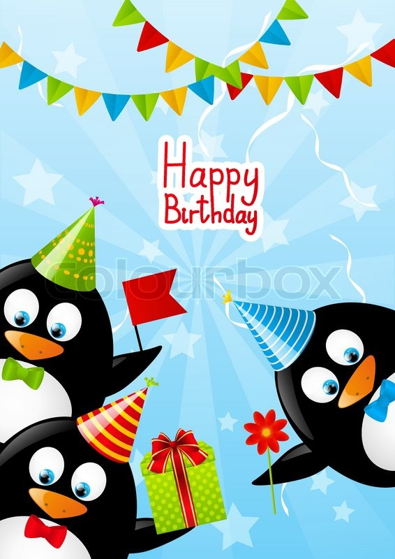 Funny Penguins With Birthday Gifts Stock Vector Colourbox