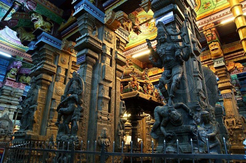 Inside Of Meenakshi Hindu Temple In Madurai Tamil Nadu