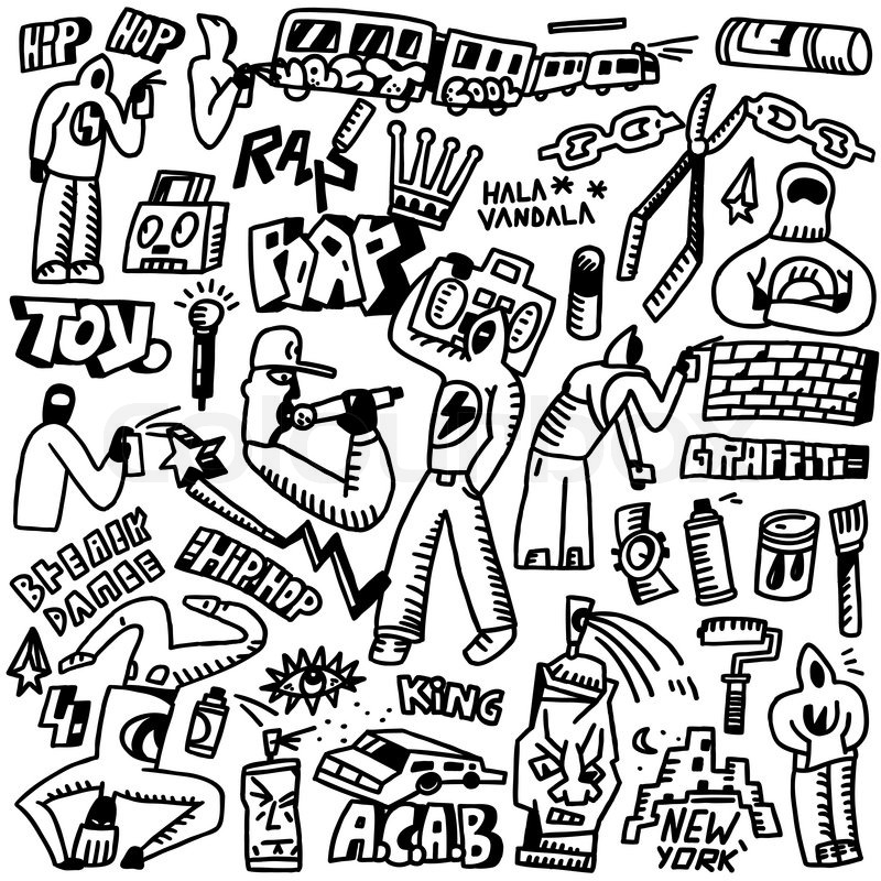 Raphip Hop Graffiti Set Icons In Sketch Style Stock