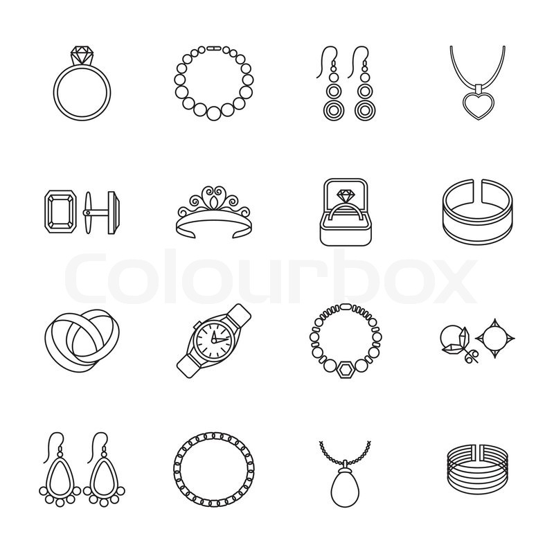 Jewelry outline icons set of bracelet ring necklace