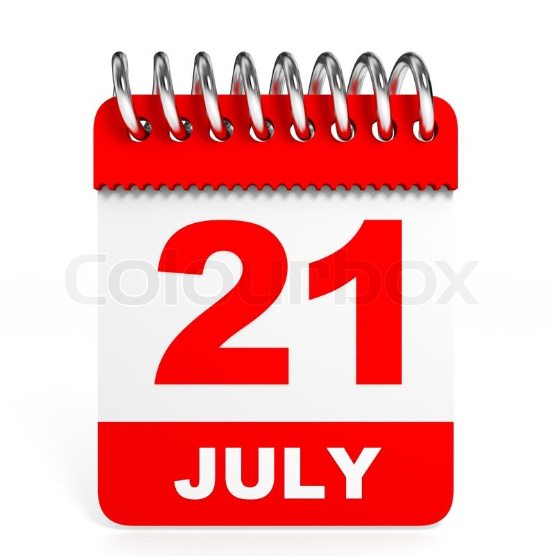 Calendar on white background 21 July 3D illustration  Stock Photo  Colourbox