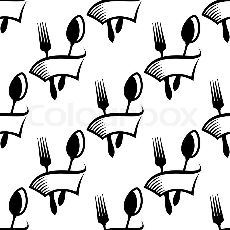 Catering or food icon seamless background pattern with a
