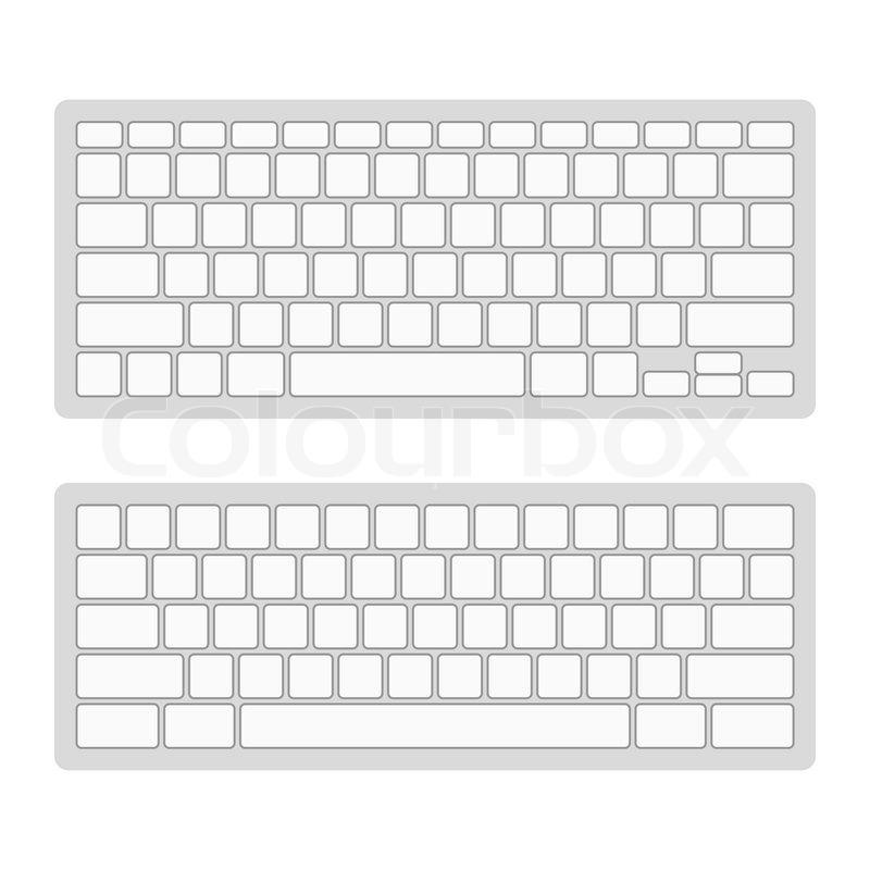 Computer Keyboard Blank Template Set. Vector illustration