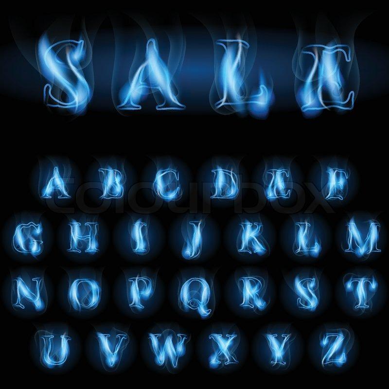 Sale blue fire latin alphabet letters  Stock Vector  Colourbox