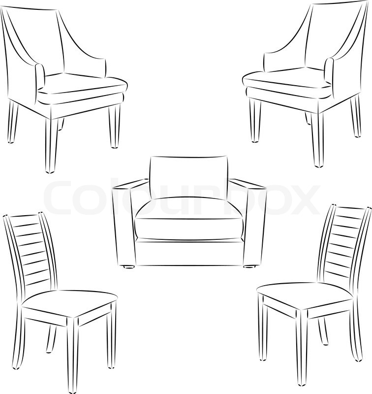 Chair icon. Classic chair outline contour drawing. Vector
