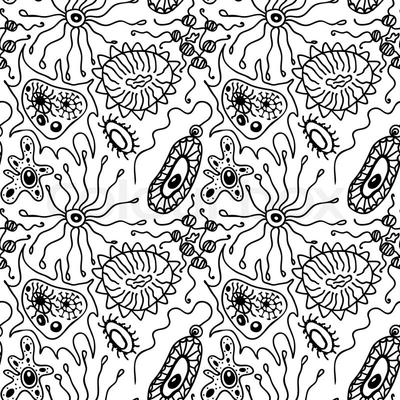 Seamless pattern with bacteria and viruses in a cartoon