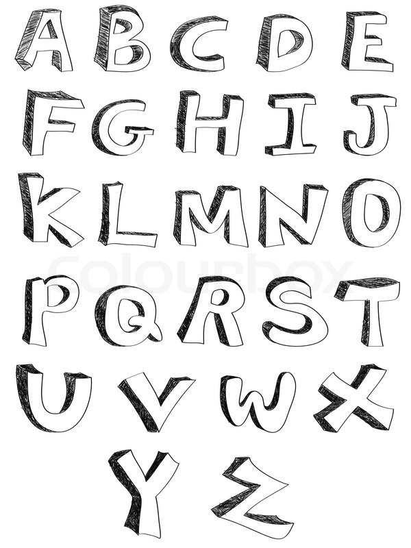 Isolated hand written alphabets on white background