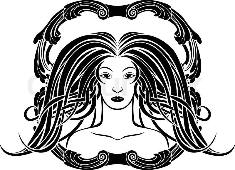 Girl portrait in the Art Nouveau style, black framed