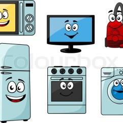 Sm Kitchen Appliances Kidskraft Cartoon Household Set With ...   Stock Vector