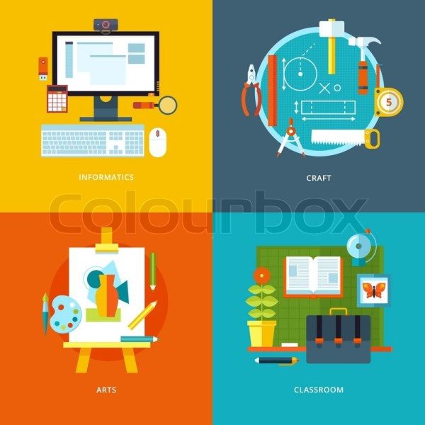 Vector School And Education Icons Set . Stock