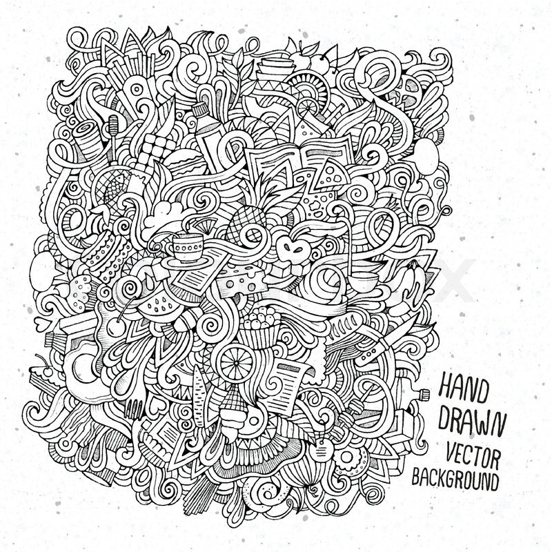 Cartoon Vector Doodles Hand Drawn Food Sketch Background