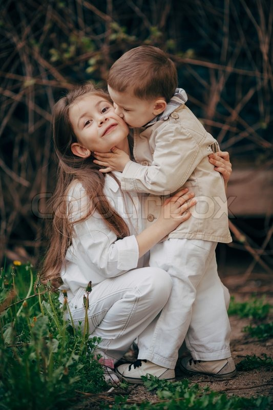 Cute Baby Couple Hug Wallpaper Small And Pretty Child Fell Lovely And Stock Photo