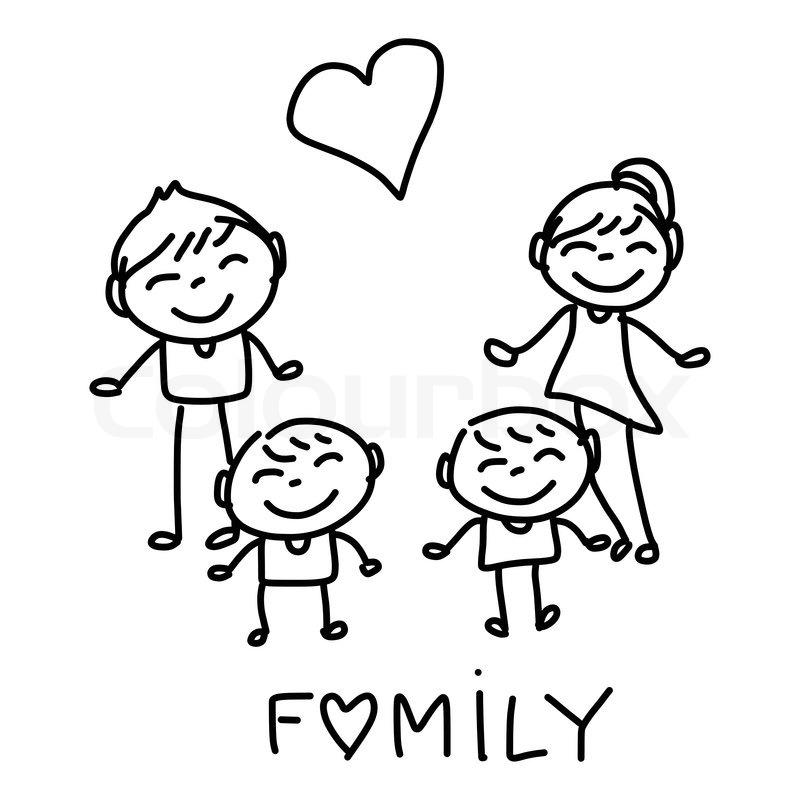 Hand Drawing Cartoon Happy Family Stock Illustration
