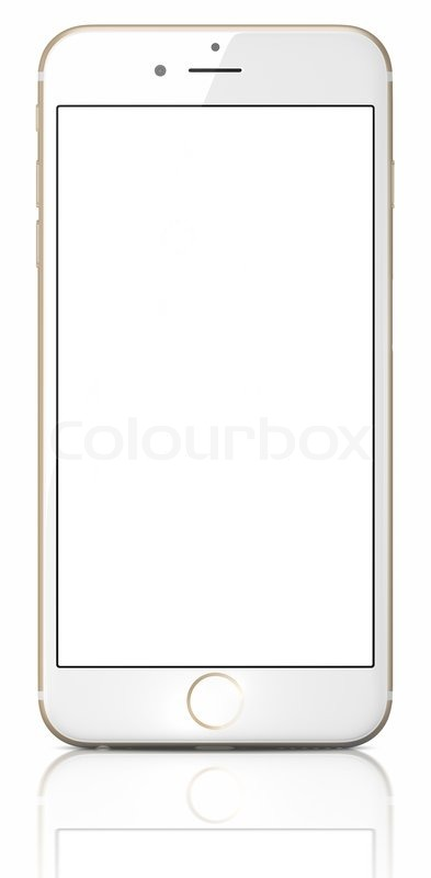 New Gold Smartphone with blank screen on white background