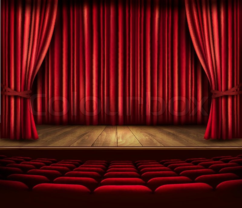A theater stage with a red curtain   Stock Vector