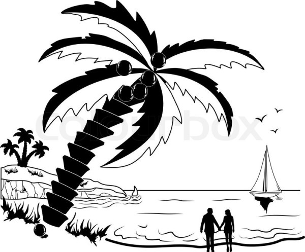 romantic couple tropical beach