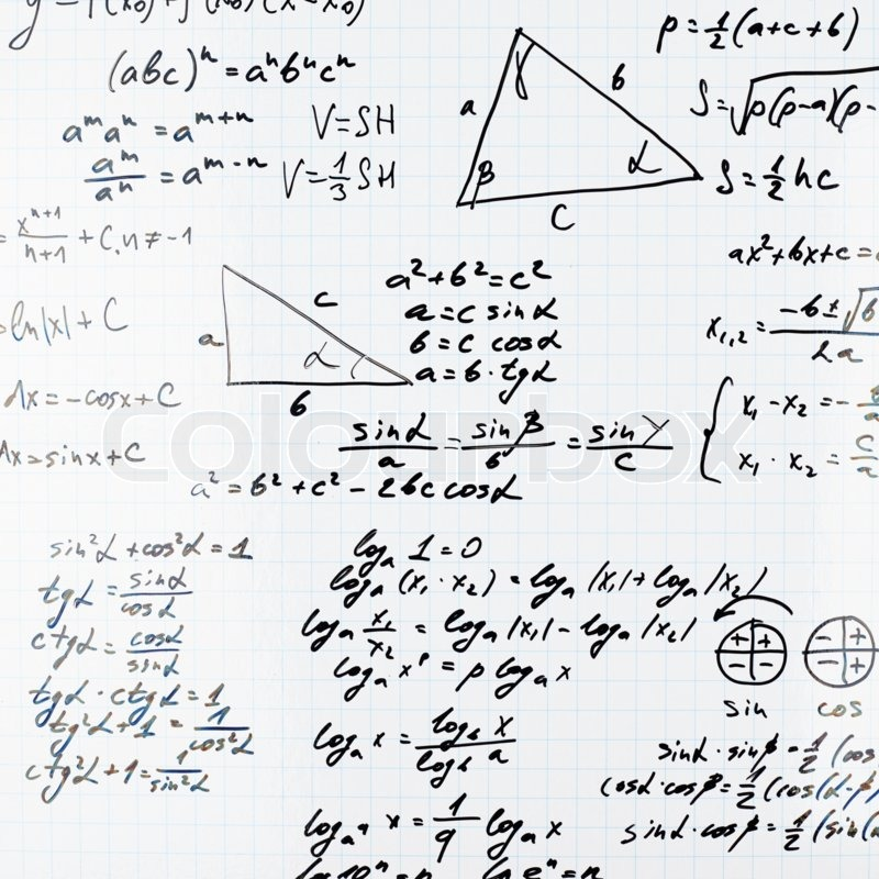 Squared sheet of paper filled with trigonometry math