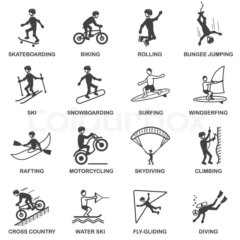 Vacation travel extreme sports icons set of skateboard