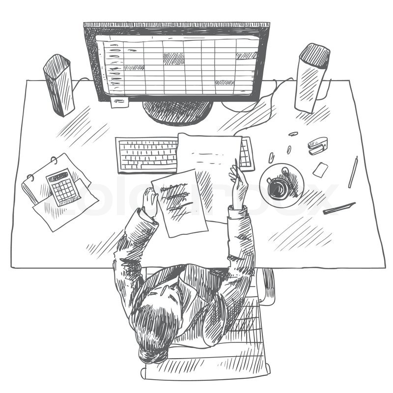 Accountant work place tools with woman sitting on table