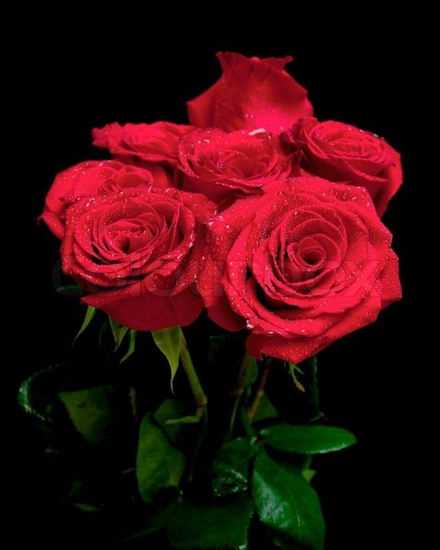 Beautiful Bouquet Of Red Roses On A Black Background