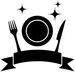 silhouette food kitchen icon plate utensil vector silhouettes restaurant knife icons spoon fork isolated dining colourbox background moon sun cafeteria