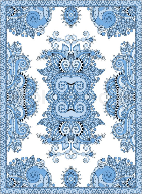 Blue colour ukrainian floral carpet design for print on