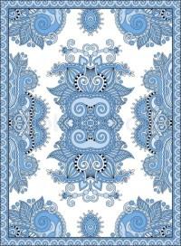 Blue colour ukrainian floral carpet design for print on ...