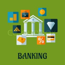 Banking Flat Design Infographic With Central Bank