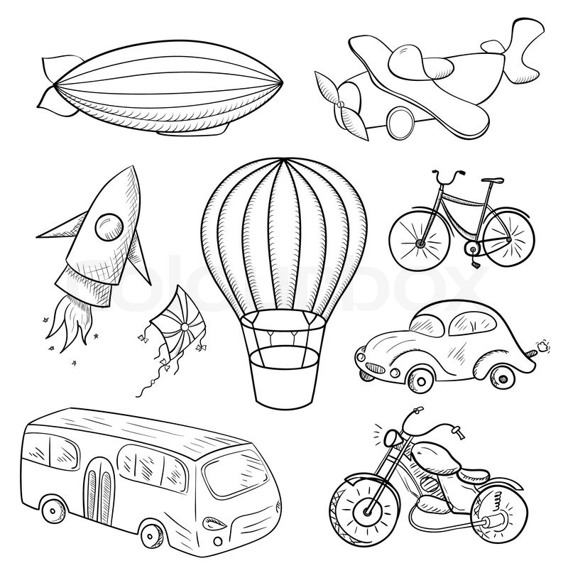 Sketches means of transport, black and white vector
