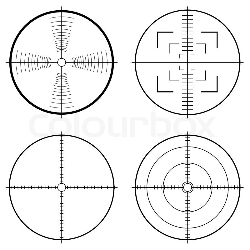 Illustration of a hunting sight with target lines and