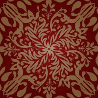 Maroon and gold retro wallpaper design that seamlessly ...