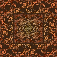 Grunge floral seamless wallpaper design in orange and ...