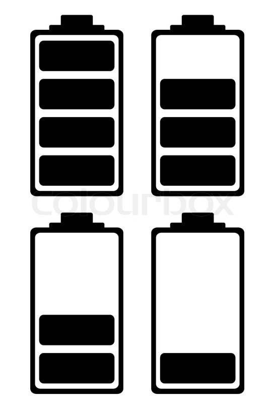 Simple battery black and white icon ideal for phone