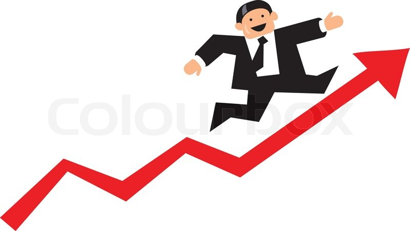 funny bar diagram poverty cycle businessman running up a red business graph arrow | stock vector colourbox