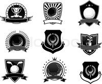 Golf sports emblems and symbols set, heraldic style for
