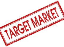 Target market red square stamp isolated on white ...