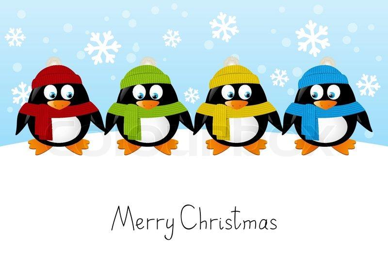 Cute Owl Wallpaper Border Cute Cartoon Penguins On Winter Stock Vector Colourbox