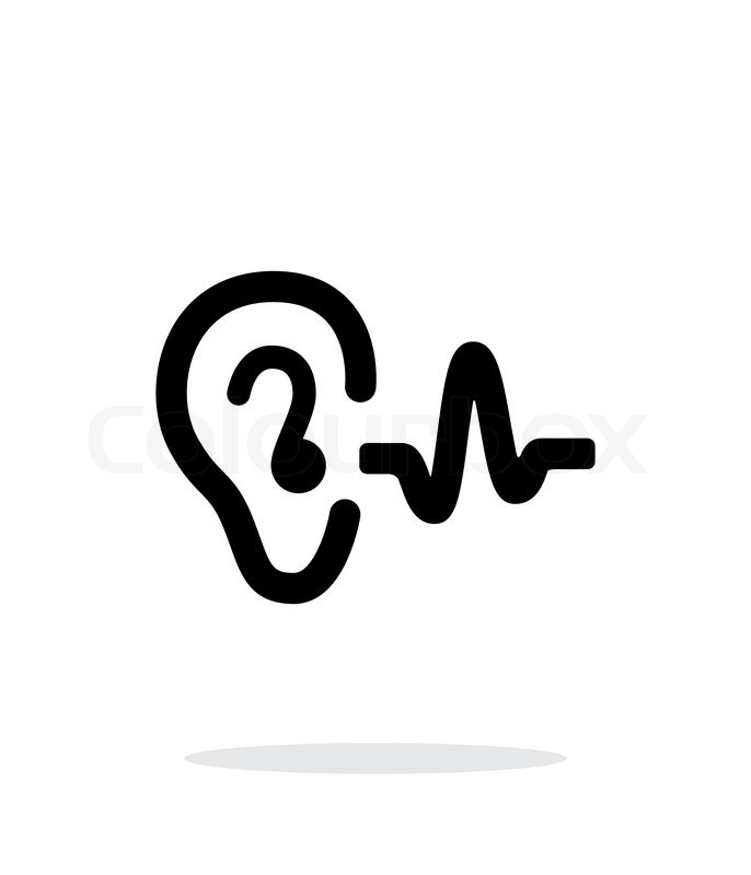 Ear hearing sound icon on white background. Vector