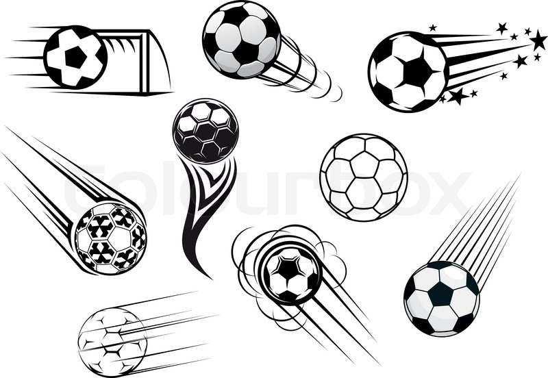 Flying soccer and football balls with motions trails for