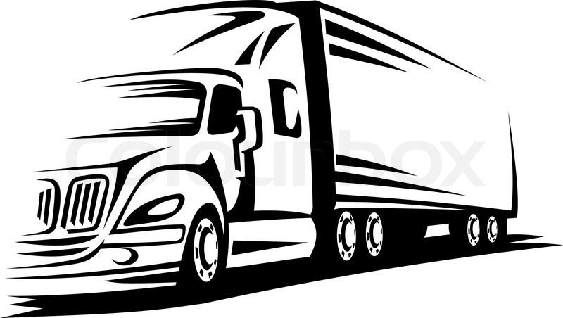 Delivery truck moving on road for transportation design or
