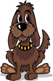 cartoon brown dog isolated white