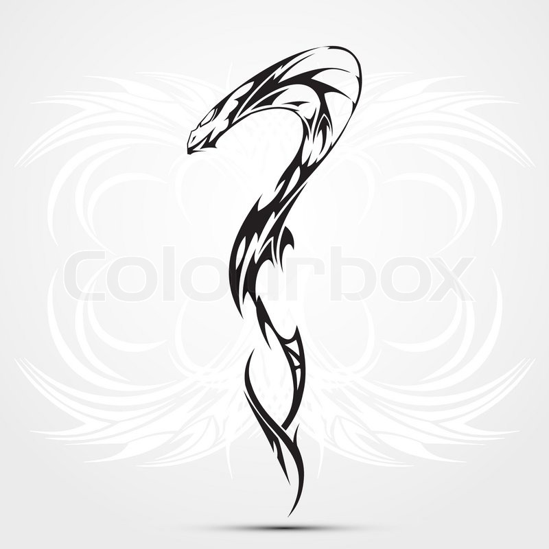 Snake tattoo, trible, abstraction with white beckround
