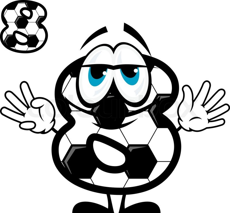 Cute cartoon number eight character coloring like football