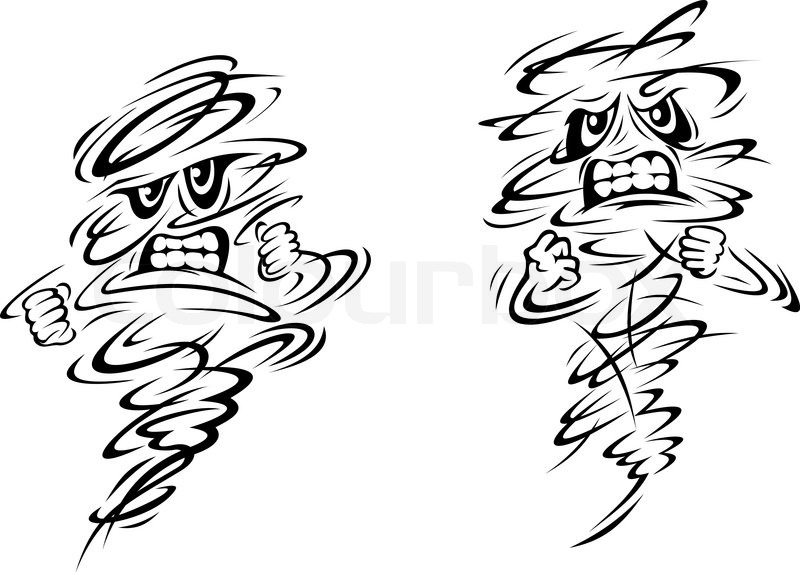 Angry tornado and hurricane characters on white, vector