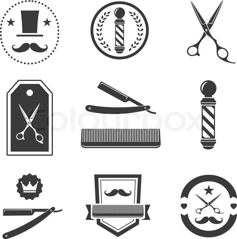 Barber Shop Logo Labels Badges Vintage Set Stock