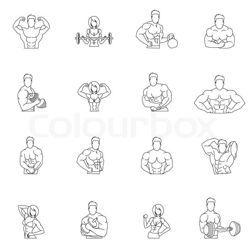 Bodybuilding fitness gym icons outline set with people