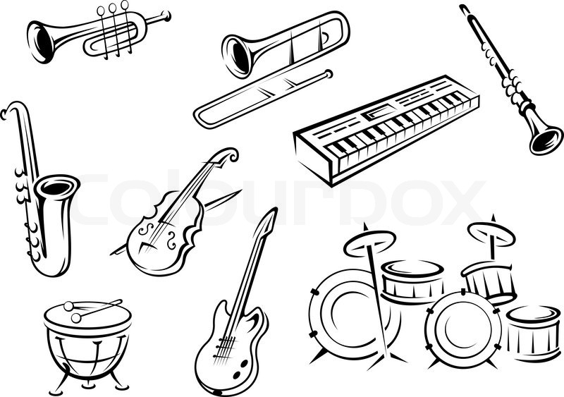 Musical instrument icons in outline style with guitar