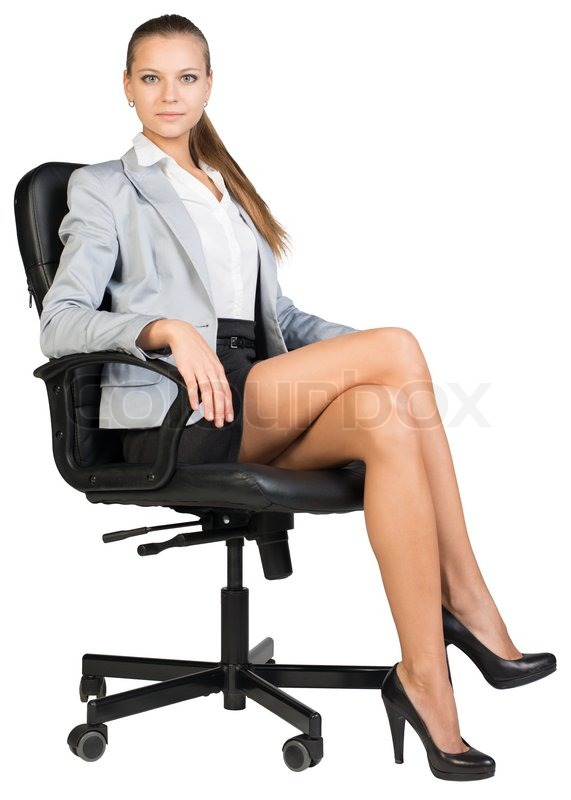 3d massage chair glider repair parts businesswoman in office chair, ooking at camera, with straight back and crossed legs. isolated ...
