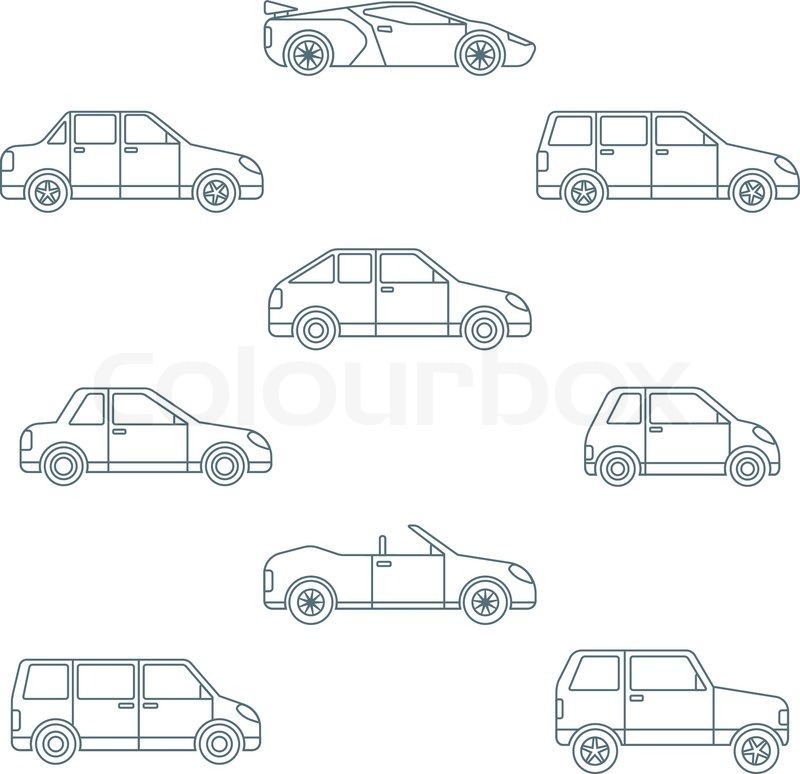Vector dark outline body types cars classification icons